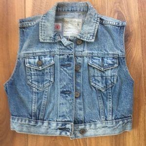 All Saints Cropped Denim Jacket / Vest / Waistcoat